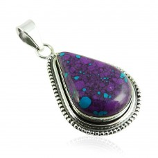 Fantastic!! 925 Silver Purple Copper Turquoise Pendant