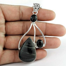 925 Sterling Silver Indian Jewellery Beautiful Durango Jasper, Black Onyx Gemstone Pendant Wholesale Price