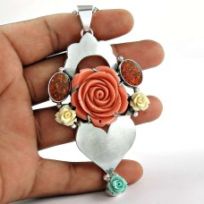 Sterling Silver Jewellery Fashion Synthetic Flower, Opal Gemstone Pendant Wholesaling