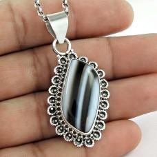 925 Sterling Silver Vintage Jewellery Ethnic Botswana Agate Gemstone Pendant Wholesale