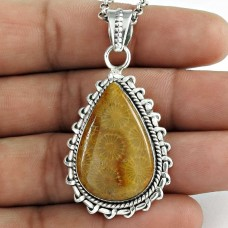 925 Sterling Silver Indian Jewellery Traditional Fossil Coral Boho Pendant Mayorista