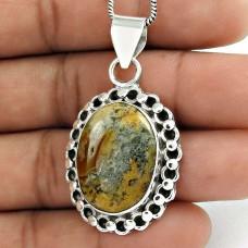 Sterling Silver Bohemian Jewellery High Polish Sunflower Jasper Gemstone Pendant Supplier