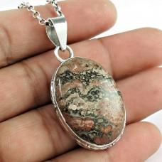 Big Natural Top 925 Sterling Silver Leopard Skin Jasper Pendant