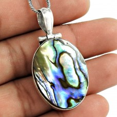Fine 925 Sterling Silver Abalone Shell Pendant