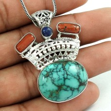 Tropical Glow 925 Sterling Silver Turquoize, Lapis, Coral Pendant