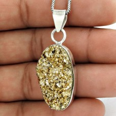 Big Amazing 925 Sterling Silver Druzy Pendant
