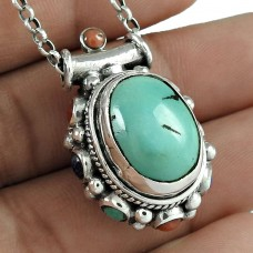 925 Sterling Silver Jewelry Ethnic Lapis, Coral, Turquoise Boho Pendant Fournisseur