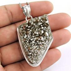 Big Natural Top 925 Sterling Silver Druzy Pendant