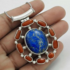 925 Sterling Silver Vintage Jewelry Beautiful Coral, Lapis Bohemian Pendant Wholesaling
