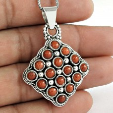 New Design 925 Sterling Silver Red Coral Pendant Fabricante