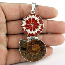 New Style Of 925 Sterling Silver Ammonite fossil, shell Pendant