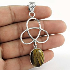 Sterling Silver Indian Jewelry High Polish Tiger Eye Gemstone Pendant Wholesaler India