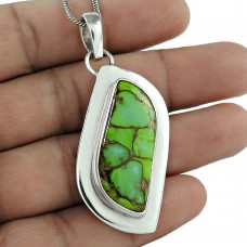Sterling Silver Fashion Jewelry Charming Green Copper Turquoise Gemstone Pendant Großhandel