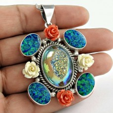 Awesome 925 Sterling Silver Taiteniam Druzy, Synthetic Copper D.O Pendant