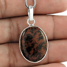 Indian Sterling Silver Jewelry Ethnic Mahogany Jasper Gemstone Pendant Großhändler