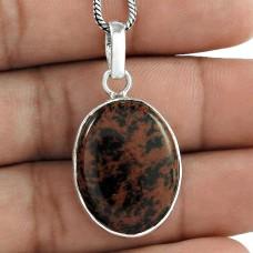 Indian Sterling Silver Jewelry Ethnic Mahogany Jasper Gemstone Pendant Großhändler