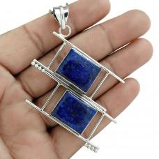 925 Sterling Silver Fashion Jewelry Ethnic Lapis Gemstone Pendant Al por mayor
