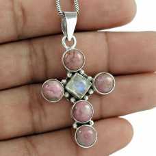 925 Sterling Silver Jewelry Beautiful Rhodochrosite, Rainbow Moonstone Gemstone Pendant Mayorista