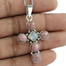 925 Sterling Silver Jewelry Beautiful Rhodochrosite, Rainbow Moonstone Gemstone Pendant Mayorista