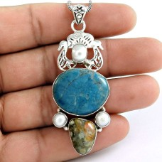 Sterling Silver Fashion Jewelry High Polish Azurite, Ocean Jasper, South Sea Pearl Gemstone Pendant Grossiste