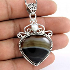 925 Sterling Silver Jewelry Rare Striped Onyx, South Sea Pearl Gemstone Pendant Supplier India