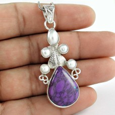 925 Sterling Silver Fashion Jewelry Trendy Purple Copper Turquoise, South Sea Pearl Gemstone Pendant Großhändler