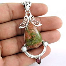 925 Sterling Silver Gemstone Jewelry Charming Unakite, Garnet, South Sea Pearl Bohemian Pendant Exporter India