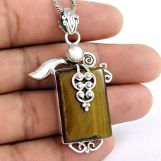 925 Sterling Silver jewelry Beautiful Tiger Eye, South Sea Pearl Pendant