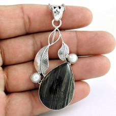 925 sterling silver fashion jewelry Trendy Darangoo Jasper, South Sea Pearl Pendant