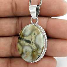 925 Sterling Silver Indian Jewelry Beautiful Ocean Jasper Gemstone Pendant Mayorista