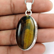 925 sterling silver antique jewelry Designer Tiger Eye Gemstone Pendant
