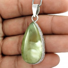 925 Silver Jewelry Traditional Prehnite Gemstone Pendant Wholesale Price