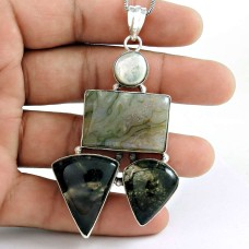 Gorgeous ! Moss Agate, Pearl 925 Sterling Silver Pendant Wholesaler