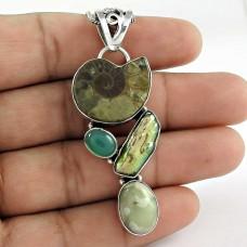 Delicate ! Ammonite, Green Onyx, Fresh Water Pearl, Jasper 925 Sterling Silver Pendant