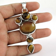 Big Inspire ! Tiger Eye 925 Sterling Silver Pendant Supplier