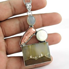 Sterling Silver Indian Jewelry High Polish Chalcedony, South Sea Pearl, Freshwater Pearl Gemstone Pendant Exporter