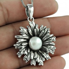 Big True Emotion !! 925 Sterling Silver Pearl Pendant