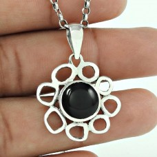 Blooming Garden !! 925 Sterling Silver Black Onyx Pendant