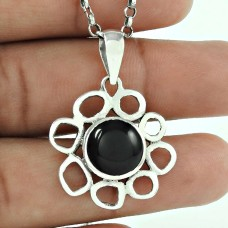 Blue Passion !! 925 Sterling Silver Black Onyx Pendant