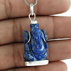Lapis Gemstone God Ganesh 925 Sterling Silver Pendant