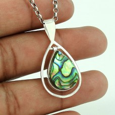 Big Royal Style ! 925 Sterling Silver Abalone Shell Pendant
