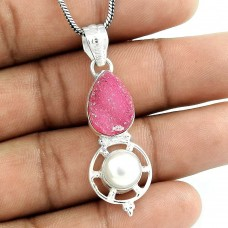 Sterling Silver Jewelry High Polish Druzy, Pearl Gemstone Pendant Wholesaler