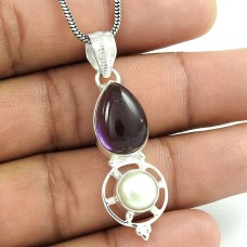 925 Sterling Silver Jewelry Charming Amethyst, Pearl Gemstone Pendant Fournisseur