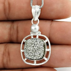 Classy Style !! 925 Sterling Silver Pearl, Druzy Pendant
