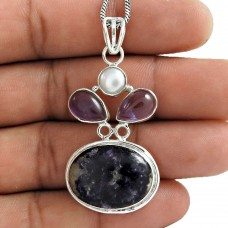 New Fashion Design !! 925 Sterling Silver Pearl, Amethyst, Chaorite Pendant