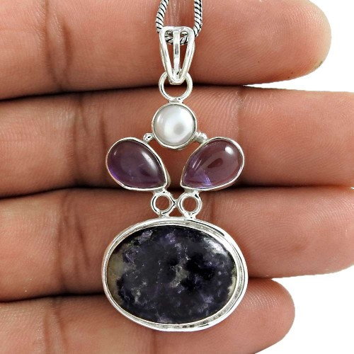 New Fashion Design !! 925 Sterling Silver Pearl, Amethyst, Chaorite Pendant