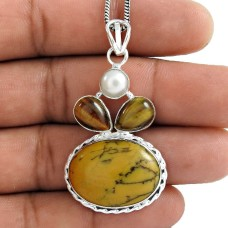 Lavender Dreams !! 925 Sterling Silver Pearl, Tiger Eye, Dendritic Opal Pendant