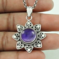 Party Wear 925 Sterling Silver Amethyst Gemstone Pendant Ethnic Jewellery
