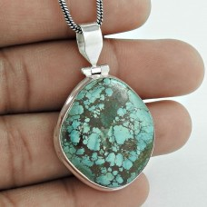 Exclusive ! 925 Sterling Silver Tibetan Turquoise Pendant