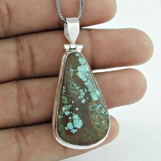 Classy Design ! 925 Sterling Silver Tibetan Turquoise Pendant